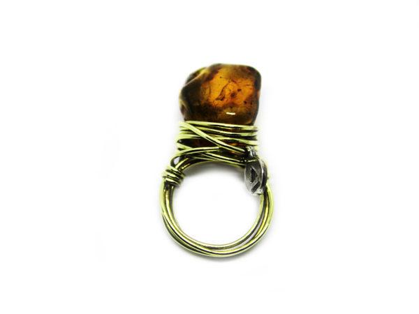 icudal. anello, wire, ambra