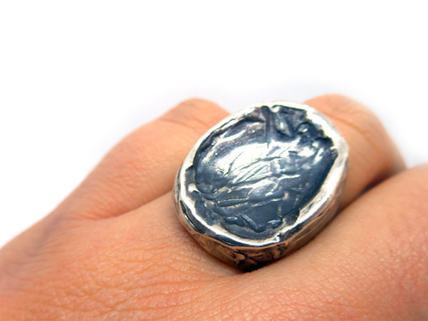 anello concavo argento icudal