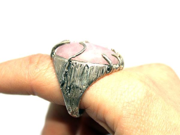 anello quarzo rosa icudal argento