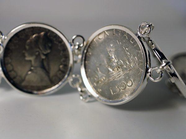 Bracciale 500 lire monete argento icudal